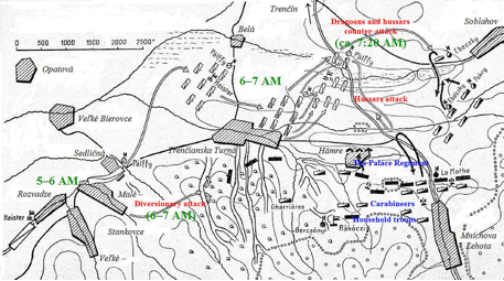 The battle of Hámre – situation around 7 AM
