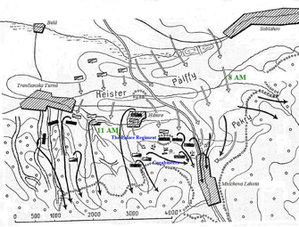 The battle of Hámre – situation after 8 AM
